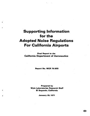 Adopted Noise Regulations For California Airports - HMMH