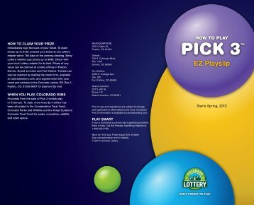 How-to-Play Pick 3 EZ - Colorado Lottery