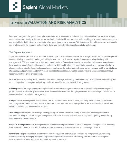 Download the Valuation and Risk Analytics Fact Sheet - Sapient