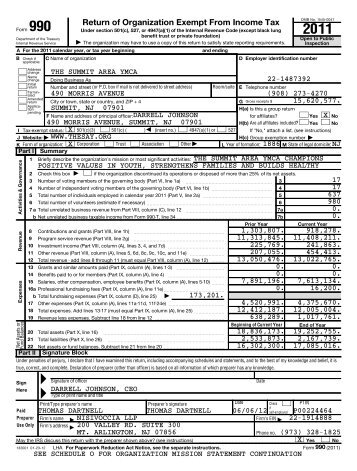 2011 990 Reporting Form - The Summit Area YMCA
