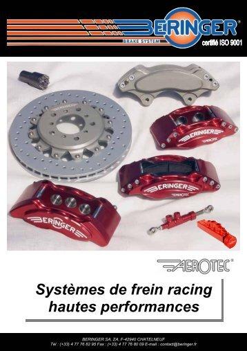 Systèmes de frein racing hautes performances - Beringer.fr