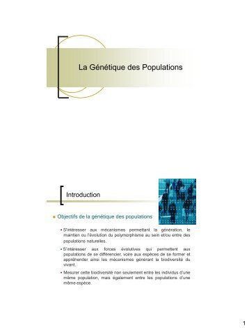 La Génétique des Populations - e-nautia