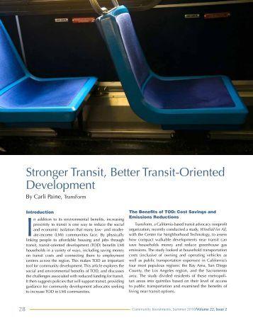 Stronger Transit, Better Transit-Oriented Development - Federal ...