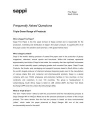 Frequently Asked Questions - Sappi