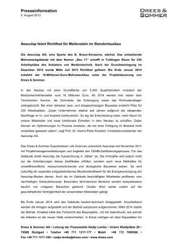 130805 Presseinformation Aesculap feiert ... - Drees & Sommer