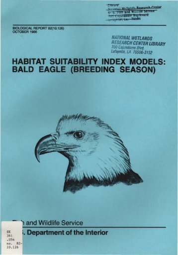 habitat suitability index models: bald eagle (breeding season)