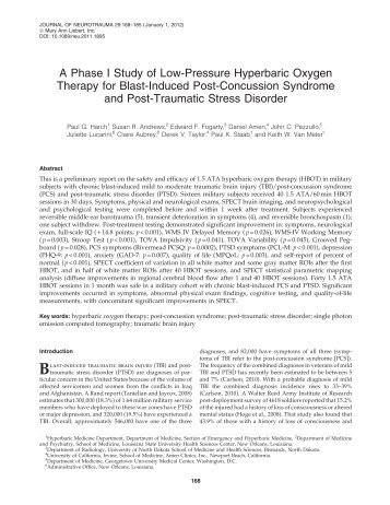 A Phase I Study of Low-Pressure Hyperbaric Oxygen Therapy for ...