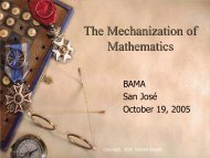The Mechanization of Mathematics - Michael Beeson's Home Page