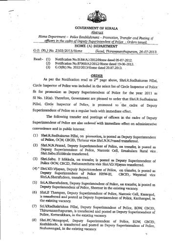 Promotion, Transfer and Posting of Officers in the ... - Kerala Police