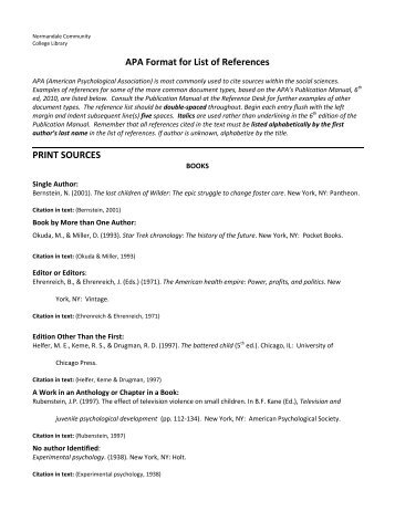 APA Format For List Of References PRINT SOURCES   Normandale .  Format For List Of References