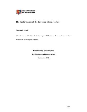 The Performance of the Egyptian Stock Market