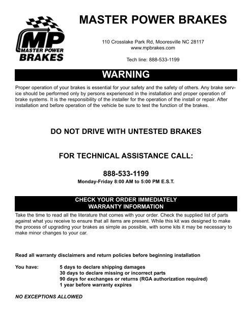 BS1010K (PDF) - Master Power Brakes