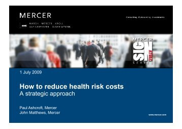 How to reduce health risk costs a strategic approach - Mercer ...