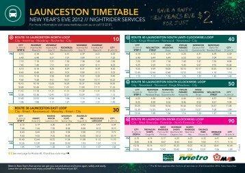 LAUNCESTON TIMETABLE