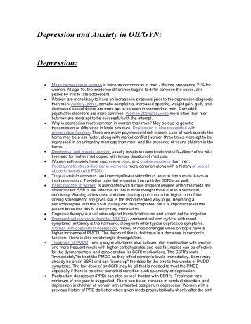 Depression and Anxiety in OB/GYN: Depression: - UCSF Fresno
