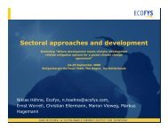 Sectoral approaches and development