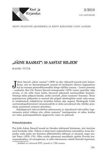 """""""JÄINE RAAMAT"""": 50 AASTAT HILJEM* - Keel ja Kirjandus"""