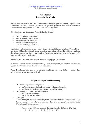 Arbeitsblatt Französische Metrik - Till R. Kuhnle - T-Online