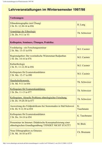 Lehrveranstaltungen im Wintersemester 1997/98