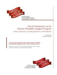 Social Enterprises and the Ontario Disability Support Program