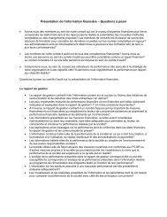 Présentation de l'information financière – Questions à poser