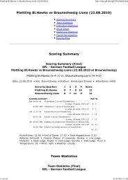 Plattling Bl.Hawks vs Braunschweig Lions (22.08 ... - NewYorker Lions