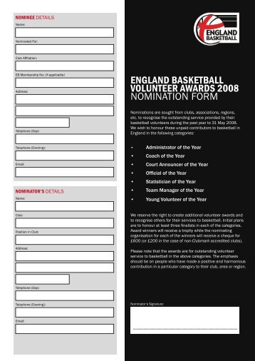 Download the 2008 Volunteer Recognition Awards nomination form ...