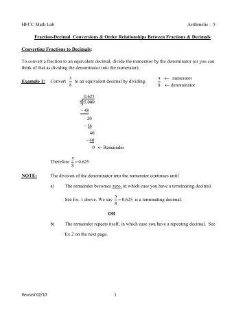 Arith. 05: Fraction-Decimal Conversions & Order Relationships ...