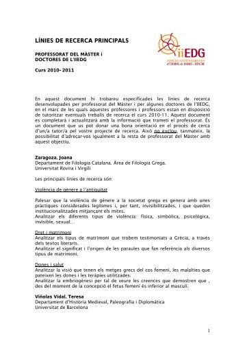 LÍNIES DE RECERCA PRINCIPALS - Institut Interuniversitari d ...