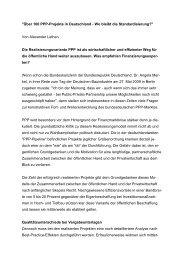 Über 100 PPP-Projekte in Deutschland - wo bleibt die ... - WL Bank