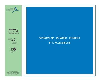 Windows XP – MS Word – Internet et l'accessibilité [PDF, 6484 Ko]