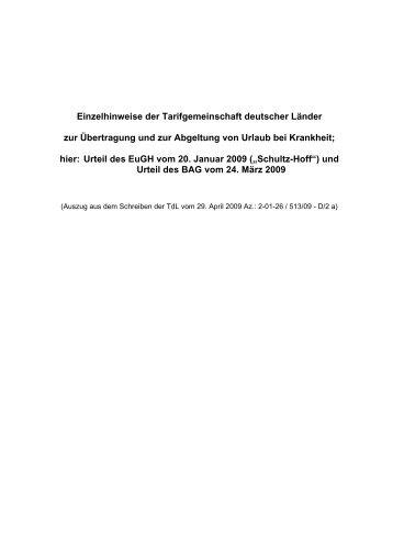 Einzelhinweise der Tarifgemeinschaft deutscher ... - Der Personalrat