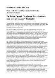 """Dr. Peter Coreth Gewinner der """"Johanna und Grenz-Magier ... - MVNet"""