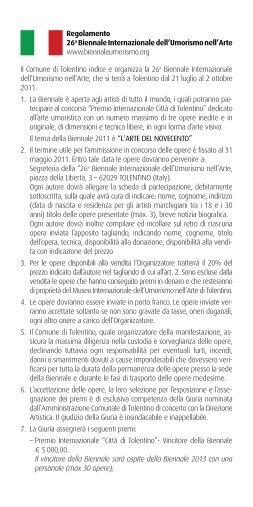 Regolamento 26a Biennale Internazionale dell'Umorismo nell'Arte ...