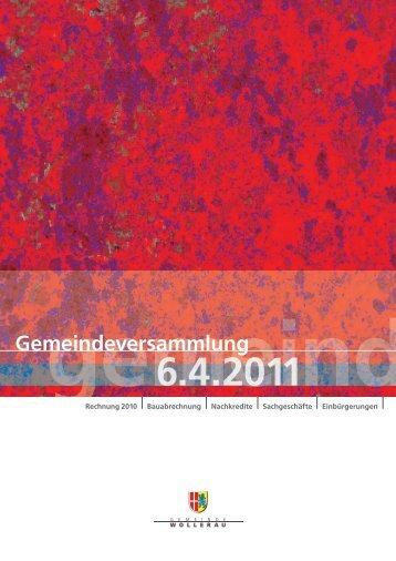 Rechnung 2010 - Gemeinde Wollerau