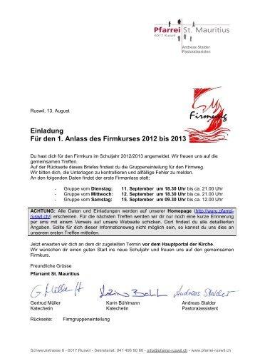 Einladung Für den 1. Anlass des Firmkurses 2012 bis 2013 - WARU