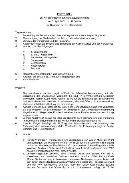 PROTOKOLL der 48. ordentlichen Jahreshauptversammlung am 5 ...