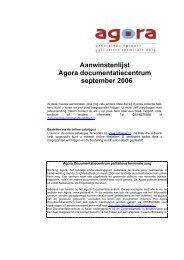 Aanwinstenlijst Agora documentatiecentrum september 2006