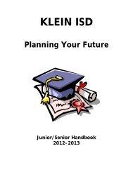 Junior/Senior Hanbook 2012-2013 - Klein Independent School District