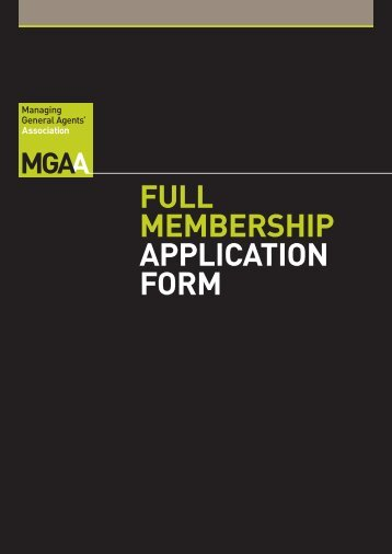 full membership ApplicAtion form - MGAA