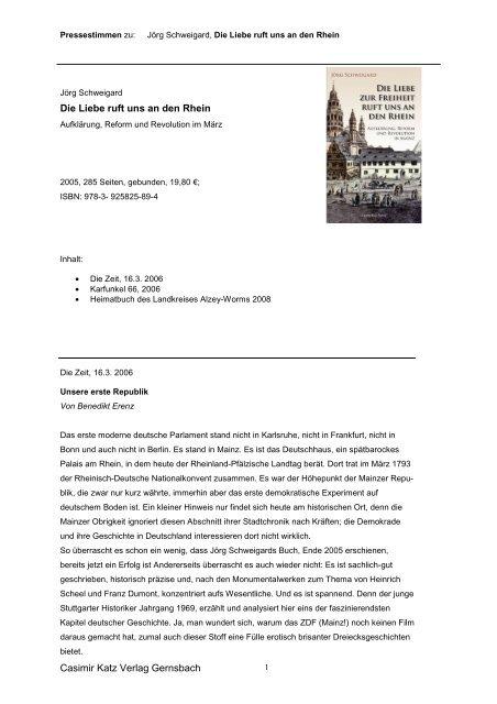 Casimir Katz Verlag Gernsbach Die Liebe ruft uns an den Rhein
