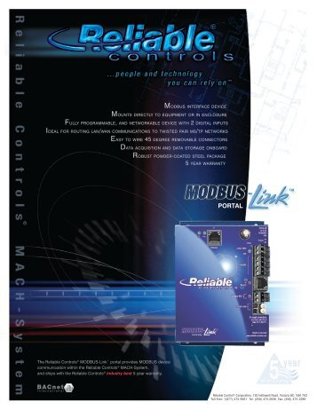 The Reliable Controls® MODBUS-Link™ portal is a