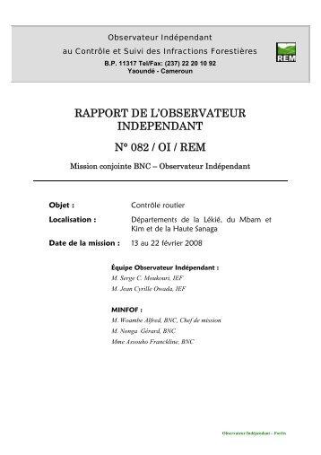 Rapport de mission REM N°082 Cameroun - Observateur ...
