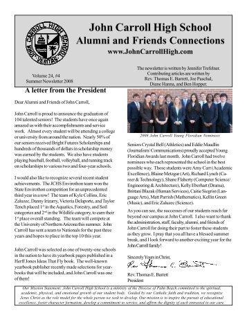 Summer 2008 Newsletter - John Carroll Catholic High School
