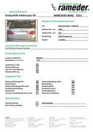 Einbauhilfe Elektrosatz für MERCEDES-BENZ S211
