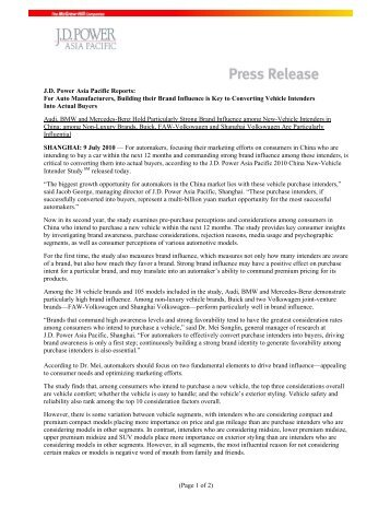 (Page 1 of 2) JD Power Asia Pacific Reports: For Auto Manufacturers ...