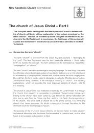 The church of Jesus Christ – Part I