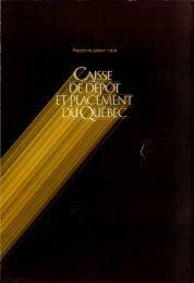 Rapport de gestion 1979 - Caisse de dépôt et placement du Québec