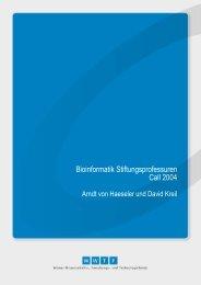 Bioinformatik Stiftungsprofessuren Call 2004 - Wwtf.at