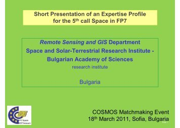 Short Presentation of an Expertise Profile for the 5th call Space in ...